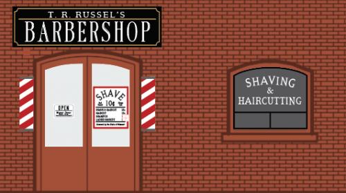 Signs for market barber