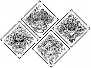 Elemental Mask coasters inks